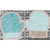 Winter Fun- Snow Baby Blue Mittens Sticker