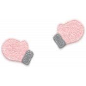 Winter Fun- Snow Baby Pink Felt Mittens