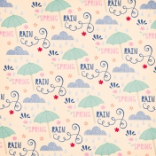 Spring Day Collab- April Showers Spring Rain with Umbrellas Paper
