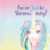 Raindrops and Rainbows Watercolor Fantasy Just be Unicorns JC 2x2