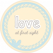 Baby Shower Love at First Sight Round Tag