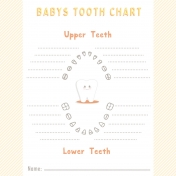Baby Shower Tooth Chart Journal Card 4x4