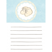 Baby Shower Blue Baby Booties Journal Card 3x4