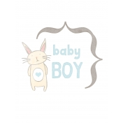 Baby Shower Baby Boy Bunny Journal Card 3x4