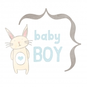 Baby Shower Baby Boy Bunny Journal Card 4x4