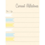 Baby Shower Yellow & Blue Milestones Journal Card 3x4