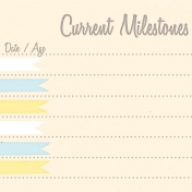 Baby Shower Yellow & Blue Milestones Journal Card 4x4