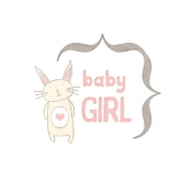 Baby Shower Baby Girl Bunny Journal Card 3x4