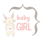 Baby Shower Baby Girl Bunny Journal Card 4x4