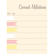 Baby Shower Yellow & Pink Milestones Journal Card 3x4