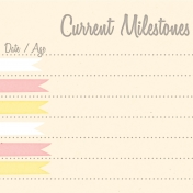 Baby Shower Yellow & Pink Milestones Journal Card 4x4