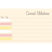 Baby Shower Yellow & Pink Milestones Journal Card 4x6
