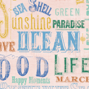 Coastal Spring Vintage Words Journal Card 4x4