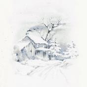 Winter Solstice Winter House 4x4 Journal Card