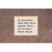 Vintage Memories: Genealogy Brick Walls 4x6 Journal Card
