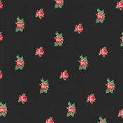 Retro Picnic Roses Black Paper