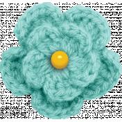 Peach Lemonade Light Blue Crochet Flower