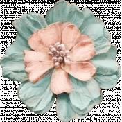 Pixel Scrapper Digital Element; light blue & peach paper flower