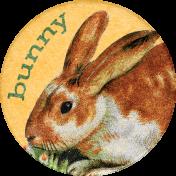 Furry Cuddles Bunny Round Sticker