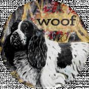 Furry Cuddles Woof Round Sticker