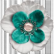 Healthy Measures Teal & White Flower