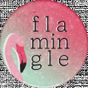 Backyard Summer Flamingle Round Sticker