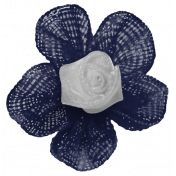 My Life Palette - Fabric Flower (Navy and White)