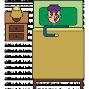 Sick Boy In Bed Illustration