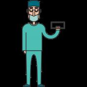 Surgeon With Mask Man Illustration