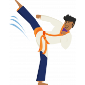 Karate Boy Kicking Illustration Color