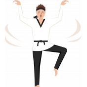 Karate Boy Standing Illustration Color