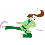 Karate Girl Kicking Illustration Color
