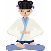 Karate Girl Standing Illustration Color