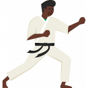 Karate Man Kicking Illustration Color