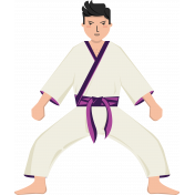 Karate Man Standing Illustration Color