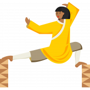 Karate Woman Standing Illustration Color