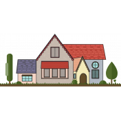 English Cottage Color Illustration