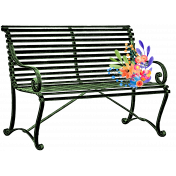Dark Green Bench with Flowers