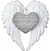 Baby - Angel Wings Heart Silver Glitter