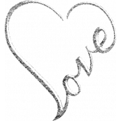 Word Art- Love Silver Glitter 2
