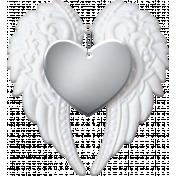 Baby- Angel Wings Heart Silver