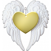 Baby- Angel Wings Heart Gold