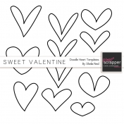 Sweet Valentine Doodle Heart Templates Kit