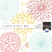 Florals Set #01 Outlines Brushes/PNG's Kit