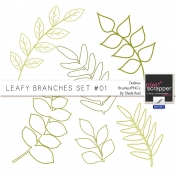 Leafy Branches Set #01 Outlines Brushes/PNG's Kit