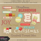 Christmas In July- Christmas Blessings Wordart And Tags Kit