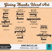 Giving Thanks Word Art Quotes