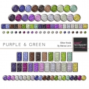 Purple & Green Glitter Brads Kit