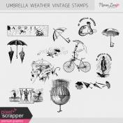 Umbrella Weather Vintage Stamps Kit