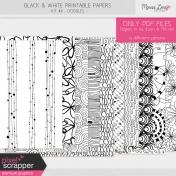 Black & White Printable Papers Kit #6